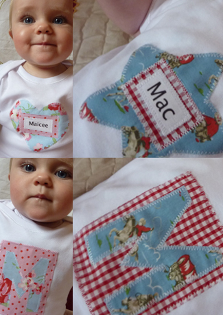 Handmade personalised baby vests.
