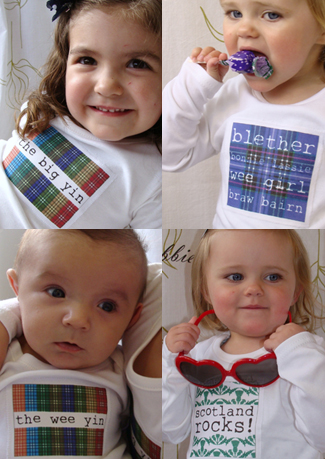 Handmade scottish t-shirts and bags by cabbie kids